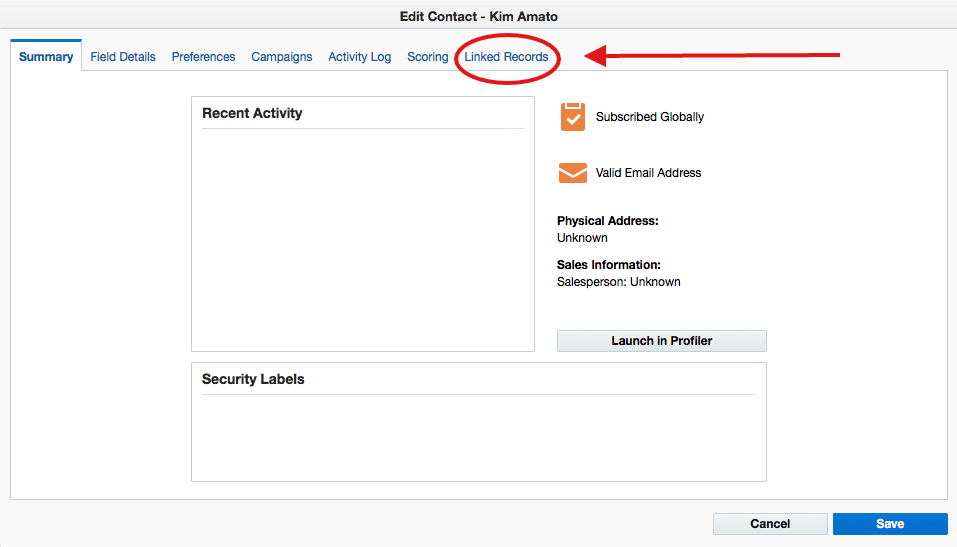 Oracle Eloqua instance pointing at Linked Records